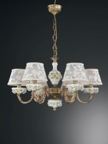 6 lights brass and painted porcelain chandelier with lamp shades