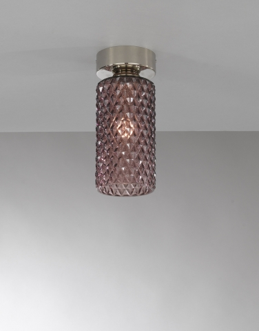 Ceiling lamp, Nickel finish, blown glass in Ametyst color PL.10001/1