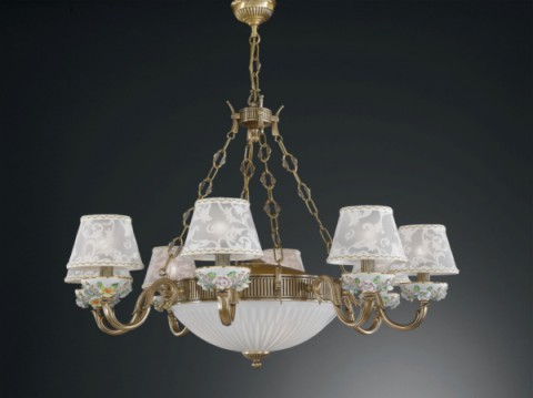 11 lights brass and painted porcelain chandelier with lamp shades