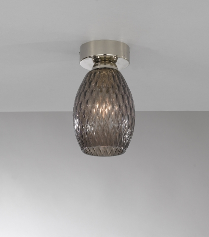 Ceiling lamp, Nickel finish, blown glass in Ametyst color PL.10007/1