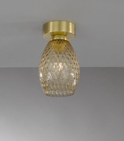 Ceiling lamp in brass , satin gold finish, blown glass bronze color. PL.10033/1