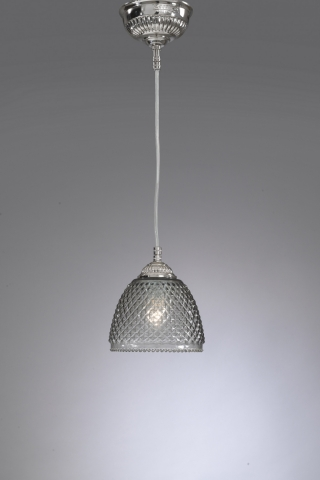 Suspension with one light, nickel color. Smoked blown glass. Code L.9801/14cm.
