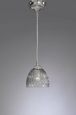 Suspension with one light, nickel color. Smoked blown glass. Code L.9800/14cm.