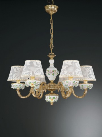 6 lights golden brass and painted porcelain chandelier with lamp shades