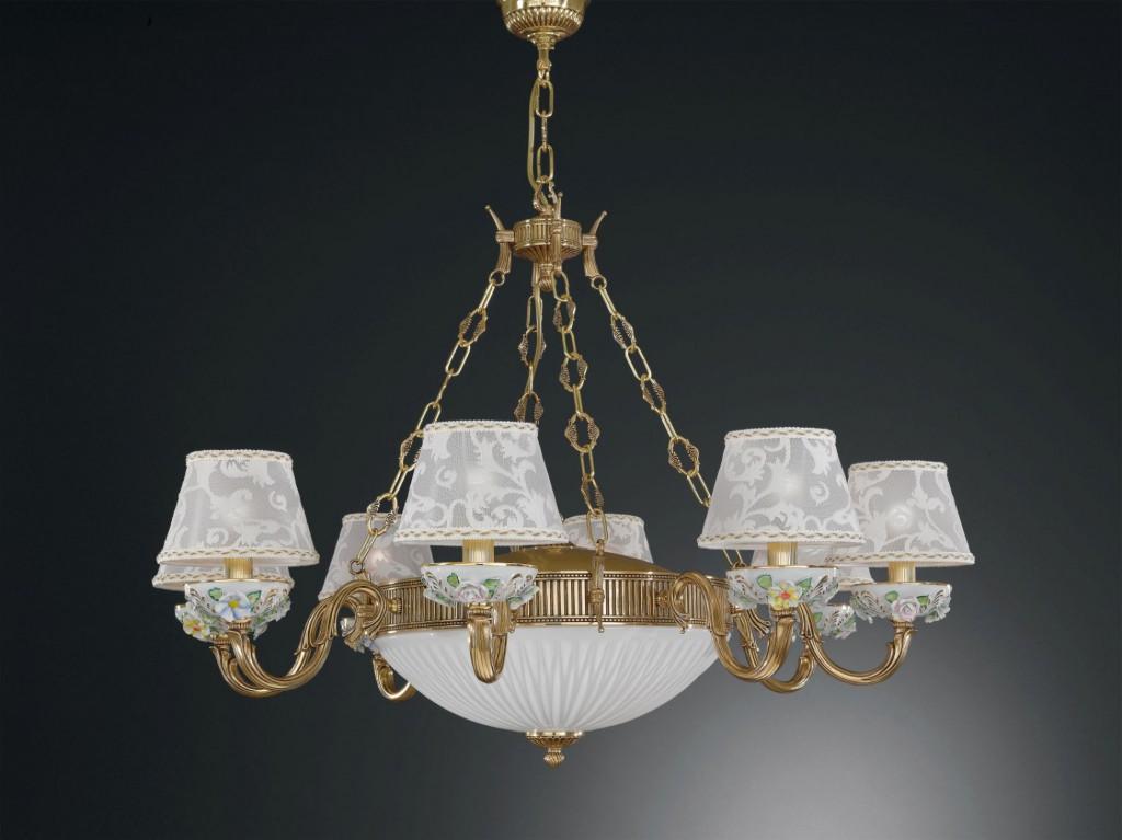 Applique in ottone dorato e porcellana dipinta con paralume