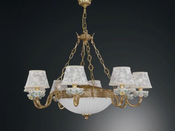 Kronleuchter aus goldenen messing und bemalten porzellan mit lampenschirm 11 flammig reccagni - Kronleuchter mit lampenschirm ...