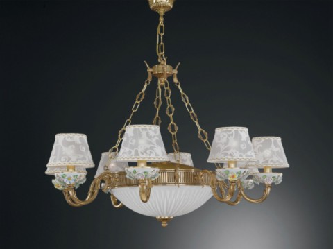 11 lights golden brass and painted porcelain chandelier with lamp shades