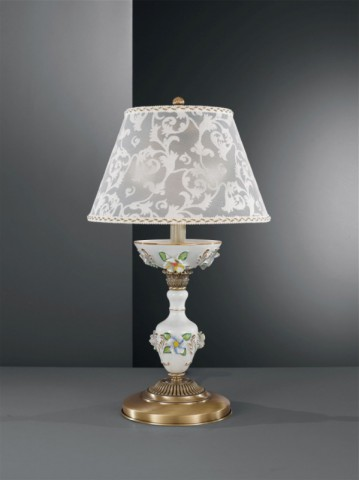 Brass table lamp with painted porcelain and lamp shade