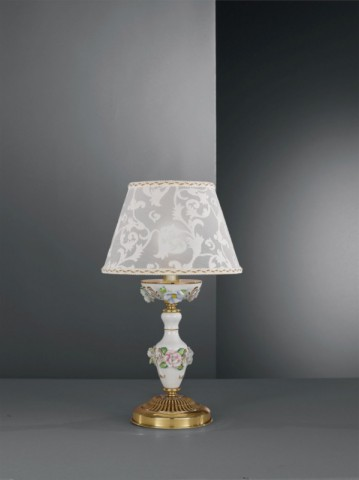 Golden brass bedside lamp with white porcelain and lamp shade