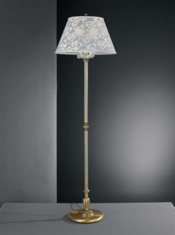 Brass floor lamp with painted porcelain and lamp shade