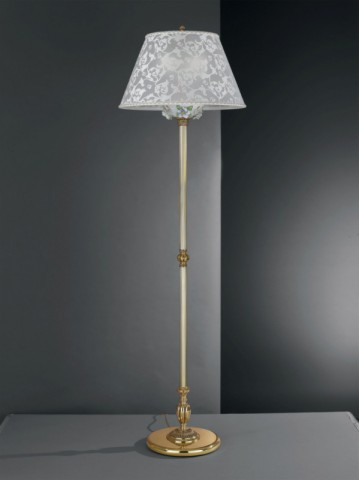 Golden brass floor lamp with painted porcelain and lamp shade