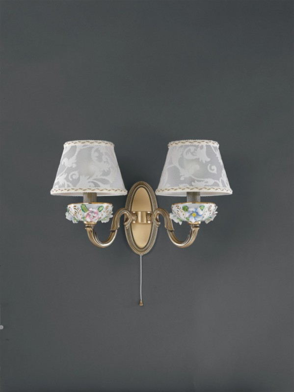 2 light brass and painted porcelain wall sconce with lamp shade