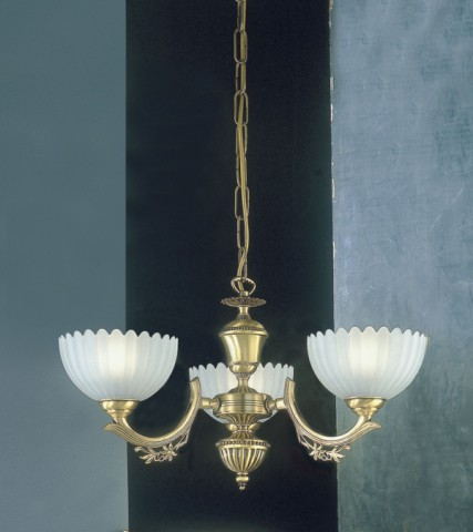 3 lights brass chandelier with frosted glass facing upward