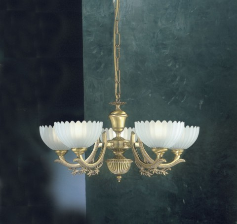 5 lights brass chandelier with frosted glass facing upward