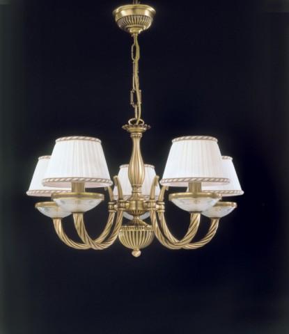 lampadario con paralumi : Lampadario in ottone e vetro satinato a 5 luci con paralumi