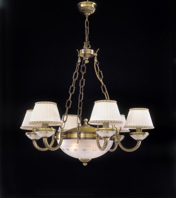 Kronleuchter aus messing und milchglas 8 flammig mit lampenschirm reccagni store - Kronleuchter mit lampenschirm ...