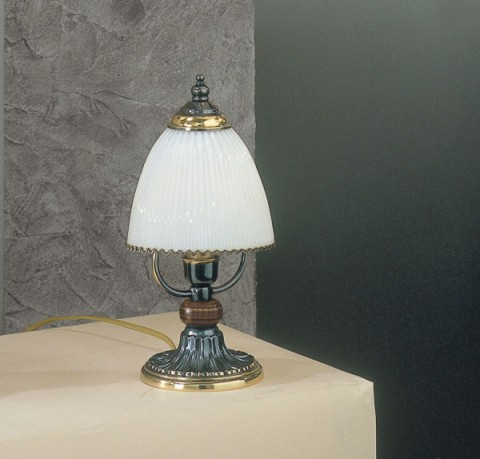 Bronze colored brass and wood bedside lamp with white blown glass