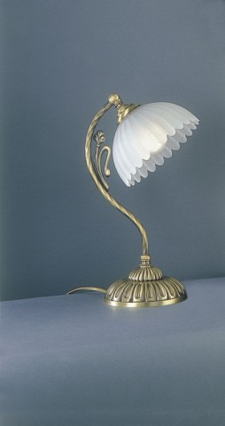 Brass bedside lamp with frosted glass