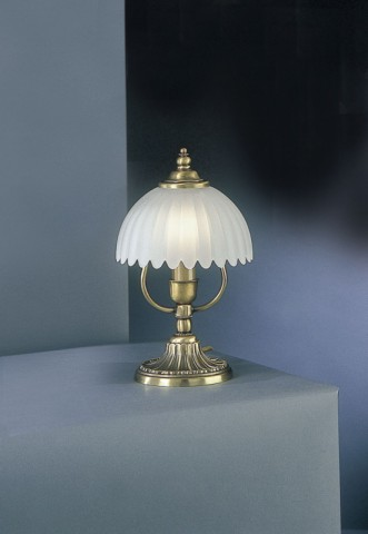 Small brass bedside lamp with frosted glass