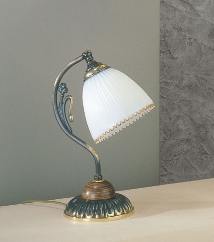 Bronzed brass and wood bedside lamp with white blown glass