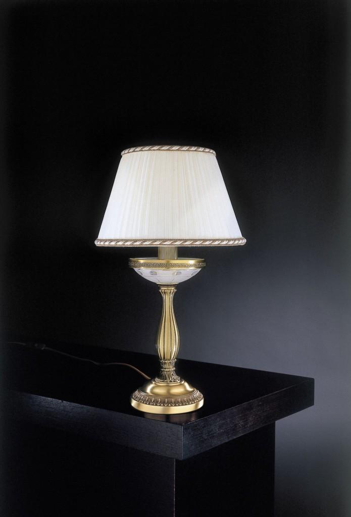 Piantana classica in ottone e vetro satinato molato con paralume reccagni store - Lampada da tavolo classica ...