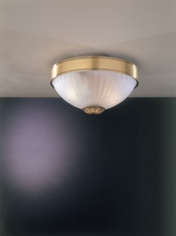 Brass ceiling light with frosted glass 24 cm