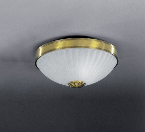 Brass ceiling light with frosted glass 30 cm