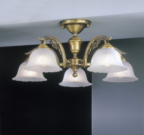 5 lights brass chandelier with frosted glass