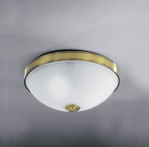 Brass ceiling light with frosted glass 40 cm