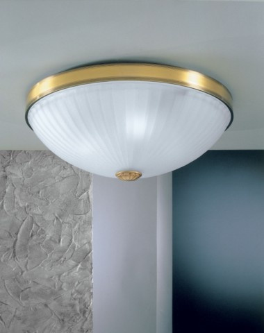 Brass ceiling light with frosted glass 50 cm