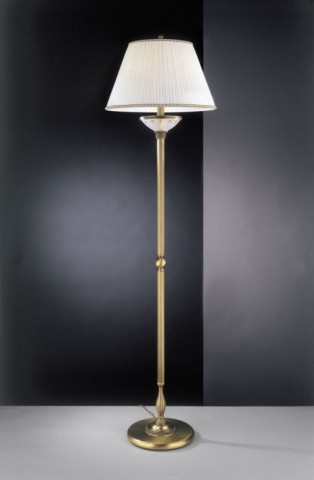 Brass floor lamp with frosted glass and fabric lamp shade