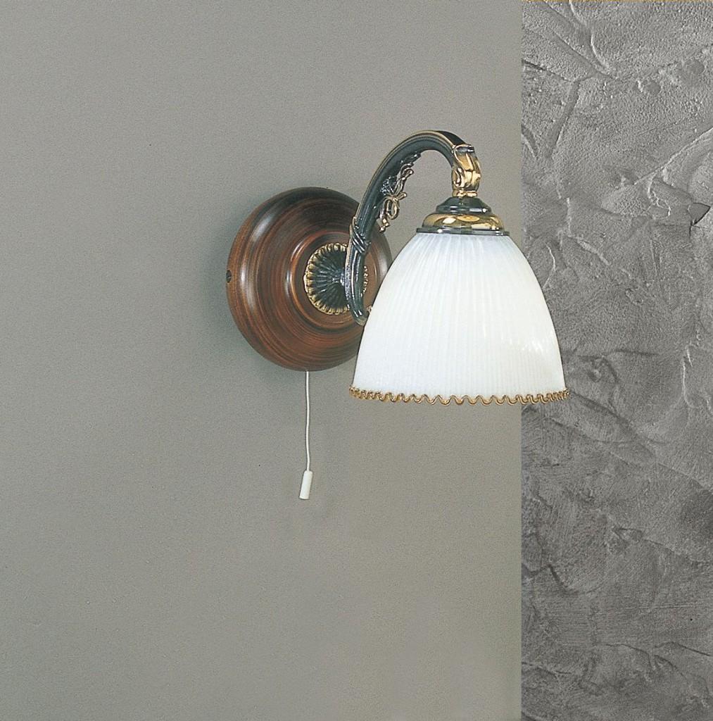 Applique in ottone e legno con vetro bianco soffiato 2 for Applique da parete legno