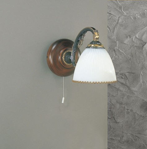Brass and wood sconce with white blown glass 1 light facing down