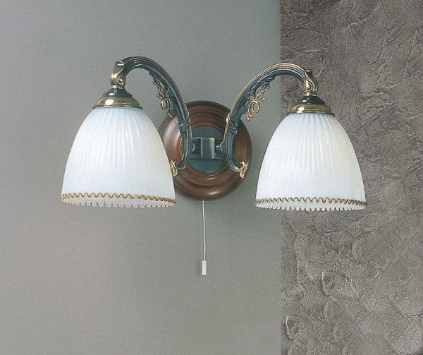Brass and wood sconce with white blown glass 2 lights facing down