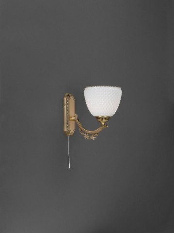 Brass wall sconce with white blown glass 1 light facing upward