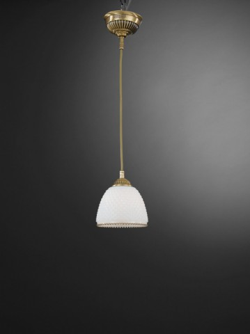 Brass pendant light with white blown striped glass 14 cm