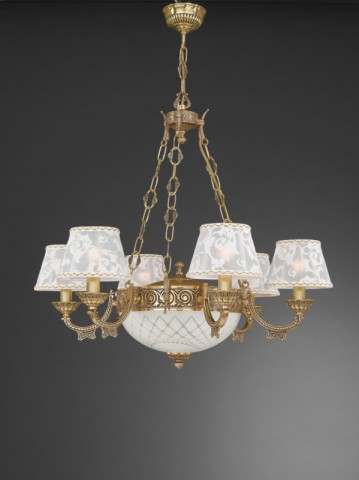 8 lights golden brass chandelier with lamp shades