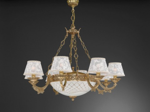 11 light golden brass chandelier with lamp shades