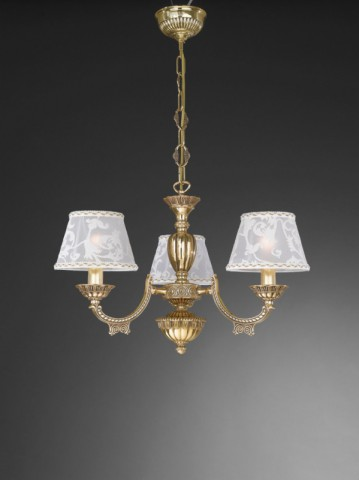 3 lights golden brass chandelier with lamp shades