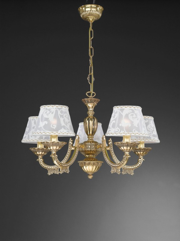 5 lights golden brass chandelier with lamp shades