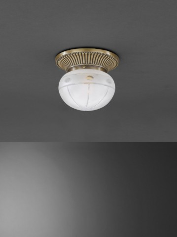 Brass ceiling light with spheric frosted cut glass