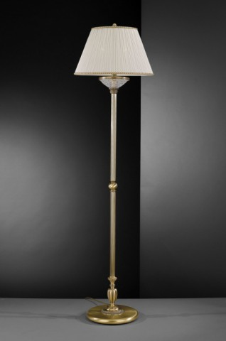 Brass floor lamp with decorated frosted glass and fabric shade