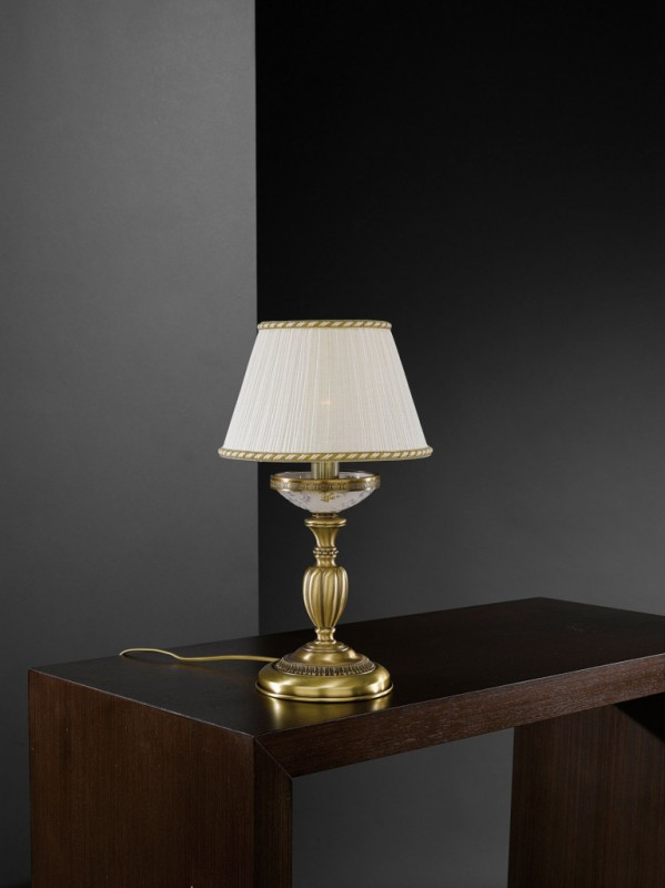 Brass bedside lamp with frosted glass and lamp shade for Glass bedside lamp shades