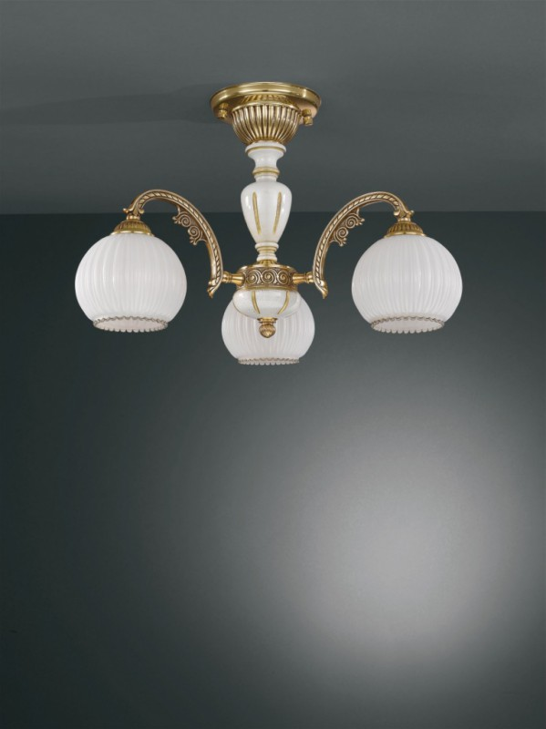 Lampadario in legno, ottone dorato e vetro soffiato 3 luci  Reccagni ...