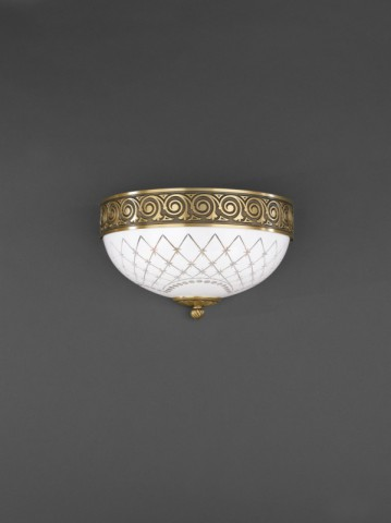 Brass and white engraved glass wall sconce