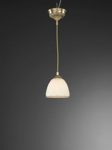 Traditional brass pendant light with ivory glass 14 cm