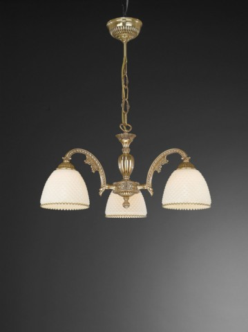 3 lights golden brass chandelier with ivory glass