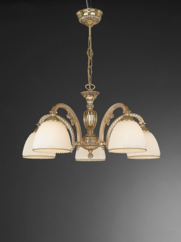 5 lights golden brass chandelier with ivory glass