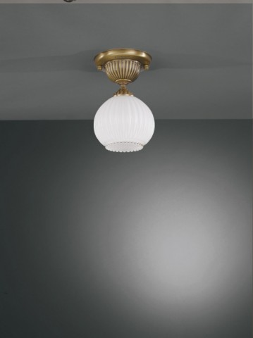 Brass ceiling light with spheric white striped blown glass