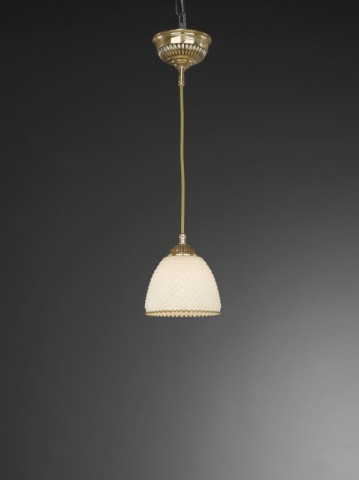 Golden brass pendant light with ivory glass 14 cm